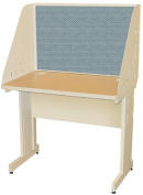 Pronto Pronto School Training Table with Carrel and Modesty Panel Back, 36W x 24D - Putty Finish and Slate Fabric