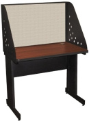 Pronto Pronto School Training Table with Carrel and Modesty Panel Back, 36W x 30D - Dark Neutral Finish and Chalk Fabric