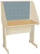 Pronto Pronto School Training Table with Carrel and Modesty Panel Back, 36W x 30D - Putty Finish and Slate Fabric