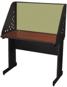 Pronto Pronto School Training Table with Carrel and Modesty Panel Back, 42W x 24D - Dark Neutral Finish and Peridot Fabric