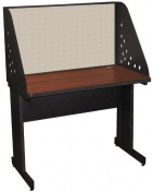 Pronto Pronto School Training Table with Carrel and Modesty Panel Back, 42W x 30D - Dark Neutral Finish and Chalk Fabric