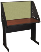 Pronto Pronto School Training Table with Carrel and Modesty Panel Back, 42W x 30D - Dark Neutral Finish and Peridot Fabric