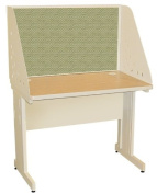 Pronto Pronto School Training Table with Carrel and Modesty Panel Back, 42W x 30D - Putty Finish and Peridot Fabric