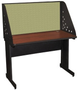 Pronto Pronto School Training Table with Carrel and Modesty Panel Back, 48W x 30D - Dark Neutral Finish and Peridot Fabric