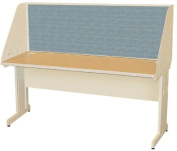 Pronto Pronto School Training Table with Carrel and Modesty Panel Back, 60W x 24D - Putty Finish and Slate Fabric