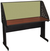 Pronto Pronto School Training Table with Carrel and Modesty Panel Back, 60W x 30D - Dark Neutral Finish and Peridot Fabric