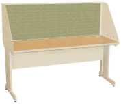 Pronto Pronto School Training Table with Carrel and Modesty Panel Back, 60W x 30D - Putty Finish and Peridot Fabric