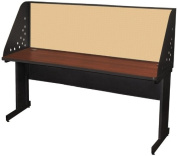 Pronto Pronto School Training Table with Carrel and Modesty Panel Back, 72W x 24D - Dark Neutral Finish and Beryl Fabric