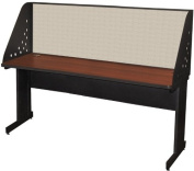 Pronto Pronto School Training Table with Carrel and Modesty Panel Back, 72W x 24D - Dark Neutral Finish and Chalk Fabric