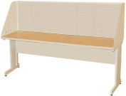Pronto Pronto School Training Table with Carrel and Modesty Panel Back, 72W x 24D - Putty Finish and Chalk Fabric