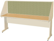 Pronto Pronto School Training Table with Carrel and Modesty Panel Back, 72W x 24D - Putty Finish and Peridot Fabric