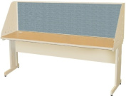 Pronto Pronto School Training Table with Carrel and Modesty Panel Back, 72W x 24D - Putty Finish and Slate Fabric