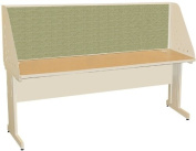 Pronto Pronto School Training Table with Carrel and Modesty Panel Back, 72W x 30D - Putty Finish and Peridot Fabric