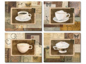 4 Vintage Coffee Collage Art Prints Mixed Media Home Kitchen Decor 8 x 10