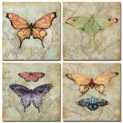 Set of 4 Vintage Butterfly Collage Art Prints Butterflies by Paul Brent 8x8