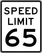Street & Traffic Sign Wall Decals - Speed Limit Sign 65 mph