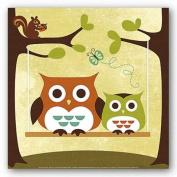 Two Owls On Swing by Nancy Lee 30cm x 30cm Art Print Poster