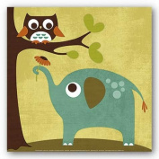 Owl And Elephant by Nancy Lee 30cm x 30cm Art Print Poster