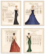 4 World Fashion Formal Gown Art Prints Symphony Ballet Teatro Opera 8x10