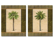 2 East Indies Palm Tree Art Prints Tropical Home Decor 8x10