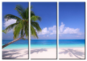 Picture Sensations Framed Huge 3-Panel Modern White Sand Palm Beach Giclee Canvas Art