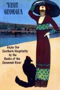 Fashion Lady Beach with Black Cat Visit Georgia Savannah River Travel Tourism 30cm X 41cm Image Size Vintage Poster Reproduction