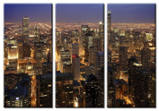 Picture Sensations Framed Huge 3-Panel Modern City Art Chicago Skyline Giclee Canvas Art