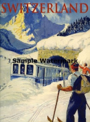 Bernese Oberland Is the Higher Part of the Canton of Bern Switzerland Suisse Swiss Train Snow Travel Tourism Skiing Ski Winter Sport 30cm X 41cm Image Size Vintage Poster Reproduction