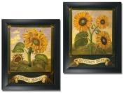 2 Framed Garden Art Prints-Home/Kitchen Wall Decor Sunflowers