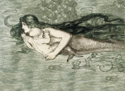 Little Mermaid Mother with a Baby Fish Ocean Sea 30cm X 41cm Image Size Vintage Poster Reproduction we have other sizes available