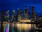 12 X 16 INCH / 30 X 40 CMS NIGHT SINGAPORE CITY REFLECTION SKYLINE URBAN ARCHITECTURE PRINT POSTER BMP438B