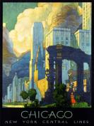 TRAVEL CHICAGO ILLINOIS USA CITYSCAPE SKYLINE CLOUD ART PRINT POSTER BB7478B