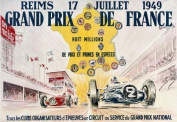France French Grand Prix 1949 Car Race 28cm X 41cm Image Size Vintage Poster Reproduction