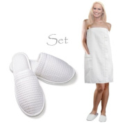 Royal Resort Collection: Luxury Lady's Wrap - Waffle Weave (Square Pattern) Bath / Spa / Body Wrap with Elegant Pocket, Colour