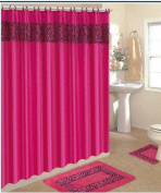 4 Piece Bath Rug Set/ 3 Piece Pink Zebra Bathroom Rugs with Fabric Shower Curtain and Matching Rings