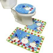 New 3pcs Snowman Bath Mat Contour Set, Christmas Bath Rug