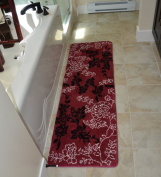 Floral Burgundy 1pc Memory Foam Bathmat 160cm x 50cm non-slip Long Rug