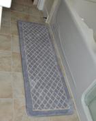 Diamond Grey 1pc Memory Foam Bathmat 160cm x 50cm non-slip Long Rug