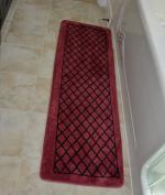 Diamond Burgundy 1pc Memory Foam Bathmat 160cm x 50cm non-slip Long Rug
