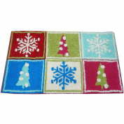 Style Selections Holiday Patchwork Throw Rug 20x34 Skid Resistant Bath Mat