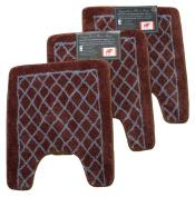 Diamond Brown 3pc Set Contour Memory Foam Bathroom Mat,size 60cm x 50cm Non-slip Rug