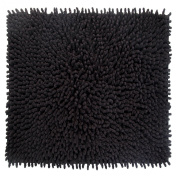 Better Trends / Pan Overseas Loopy Chenille 210 GSF 100-Percent Cotton Chenille Hand-Woven Luxury Bath Rug, 60cm by 60cm , Square Black