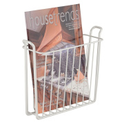 InterDesign Classico Wall Mount Newspaper and Magazine Rack for Bathroom - Pearl White