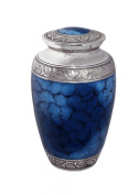 Star Legacy Mediterranean Mystic Urn, Blue with Silver/Pewter Finish, Large/Adult