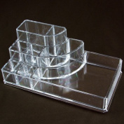 Ikee Design 3-step Acrylic Cosmetic Organiser with 4 Lipstick Compartments + 4 Large Compartments. 17cm W x 9.2cm D x 6.7cm H