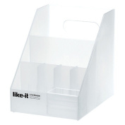 Like-It MX-9208 Desk/Cosmetic Organiser Mini with 3 Deviders and a Small Clear Tray, White