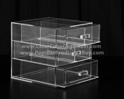 Acrylic Clear Cube Makeup Organiser w/3Drawers Display