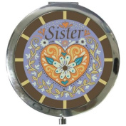 7.6cm Blue Orange And Brown Sister With Flower Decorations Compact