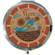 7.6cm Blue Red And Pink Mom With 2 Blue Birds Decoration Compact