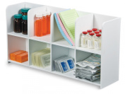 TrippNT 50669 White PVC/Acrylic Plastic Standing Storage Bin with 8 Compartments, 50cm Width x 25cm Height x 13cm Depth